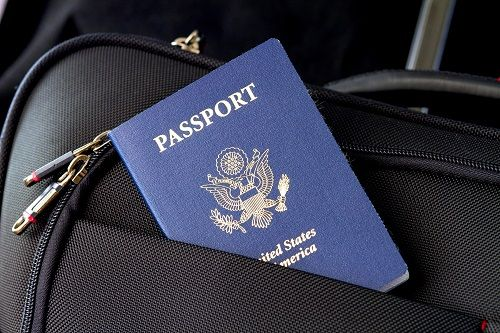Passport in luggage pocket