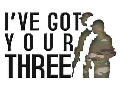 """This is a picture of a phrase, """"Ive got your three"""" and three soldiers standing beside one another"""
