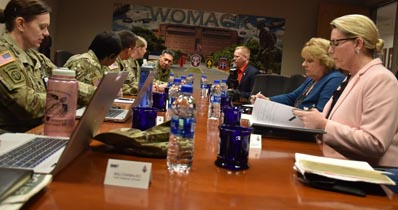 The Fayetteville, N.C., VA medical center director and Womack Army Medical Center Commander Col. John Melton discuss healthcare collaboration opportunities with other Womack department leadership Feb. 7.