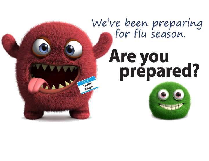Flu Clinic graphic illustration of germs. We've been preparing for flu season. Are you prepared?