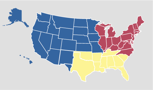 About Us Regions TRICARE - 4 regions of us map