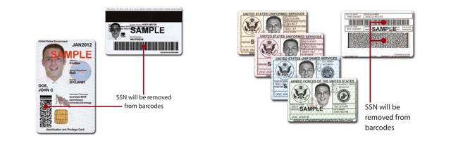 This image shows a sample of the military ID and CAC (front and back) and points to where the SSN is being removed from the barcodes on the back of the cards.